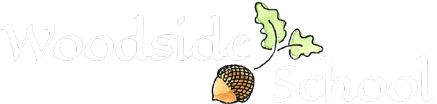 Woodside School Logo with White Text